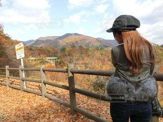 鳴子峡大橋の紅葉を眺める女性の写真・画像素材[2764667]