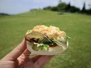 サンドイッチを持つ手の写真・画像素材[2790092]