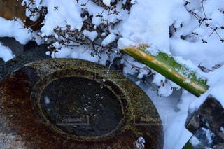 雪の中のししおどしの写真・画像素材[2808972]