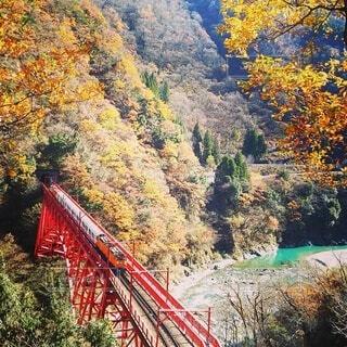 宇奈月温泉駅へ向かう列車。の写真・画像素材[3709434]