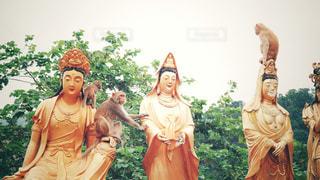 猿と仏様の写真・画像素材[1766804]