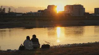 多摩川にての写真・画像素材[2865719]