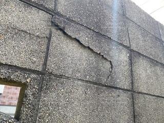 ブロック塀 ひびの写真・画像素材[3452599]