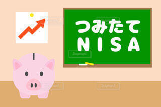 つみたてNISAと豚の貯金箱のベクターイラストの写真・画像素材[3807279]