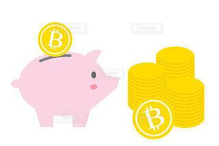 ビットコインと豚の貯金箱の写真・画像素材[3886221]