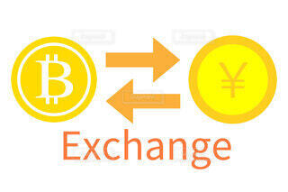 日本円とビットコインの取引のイメージの写真・画像素材[3914343]