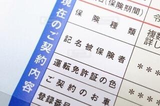 自動車保険の契約に関する書類の写真・画像素材[4056580]
