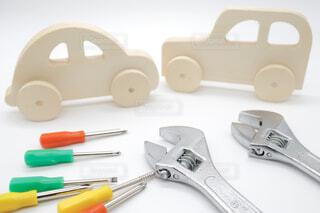 車のおもちゃと工具の写真・画像素材[4418620]