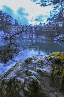 雪に囲まれた湖の写真・画像素材[2873521]