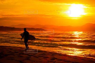 美しい夕日にたたずむの写真・画像素材[2857916]