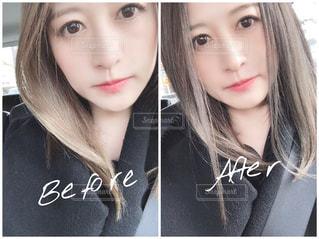 美容院カラーの前と後の写真・画像素材[2870388]