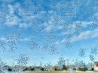 ガラスについた雪の結晶の写真・画像素材[2930822]