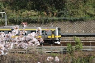 フェンスの隣の列車の線路を走行する黄色い列車の写真・画像素材[2931827]