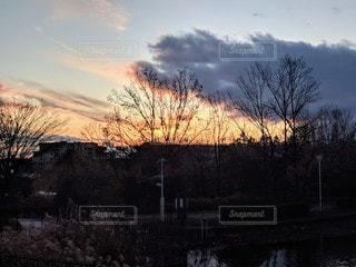 公園から見る夕焼けの写真・画像素材[2887742]