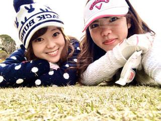 ゴルフ上でパシャリの写真・画像素材[2923394]
