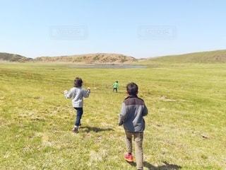 草原を走る子どもたちの写真・画像素材[2952001]