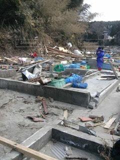 津波で何もかも無くなってしまったの写真・画像素材[2927871]