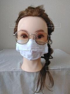 マスクと眼鏡、正面の写真・画像素材[3665938]