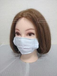 美人のマスク、ボブ、左ななめの写真・画像素材[3689974]