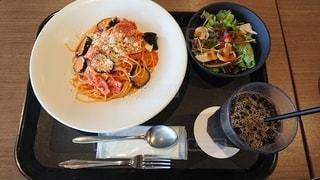 食べ物の皿をテーブルの上に置くの写真・画像素材[3099000]
