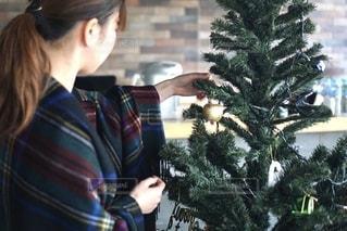 クリスマスツリーの飾り付けをする女性の写真・画像素材[2782007]
