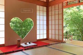 ハートの窓の和室の写真・画像素材[4700171]