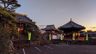 大晦日夕方の神社の写真・画像素材[3740505]