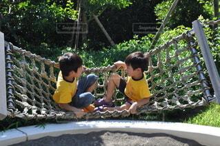 ハンモックで遊ぶ子供の写真・画像素材[3771551]
