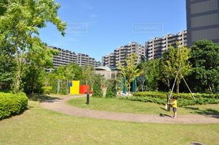 大規模マンションの中庭の写真・画像素材[3772481]