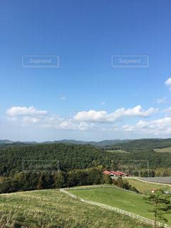 緑豊かな丘の中腹に立つ人々のグループの写真・画像素材[3061204]