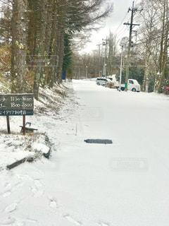 雪化粧の道の写真・画像素材[932399]