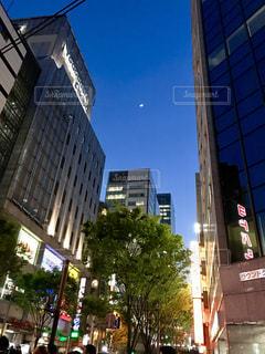 街の夜空を見上げての写真・画像素材[1137964]