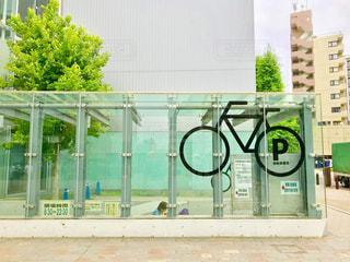 駅前の駐輪場マークの写真・画像素材[1204350]