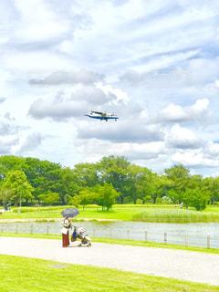 着陸する飛行機を眺める親子の写真・画像素材[1619988]