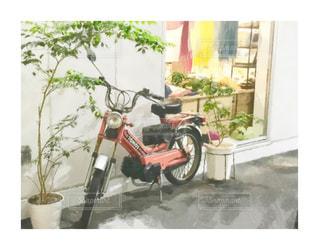 バイクの写真を絵画風に加工の写真・画像素材[2302053]