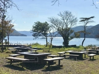 芦ノ湖の湖畔の写真・画像素材[2698092]