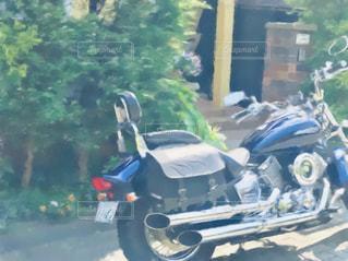 オートバイのある風景を絵画調にしてみました。の写真・画像素材[3151903]