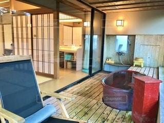 以前、旅行で泊まった温泉旅館の部屋風呂の写真・画像素材[3461018]