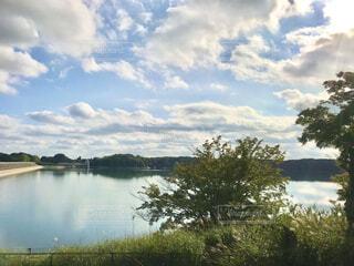 多摩湖周回コースの遊歩道をウォーキングの写真・画像素材[3723801]