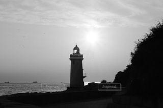 モノクロな灯台の写真・画像素材[3072337]