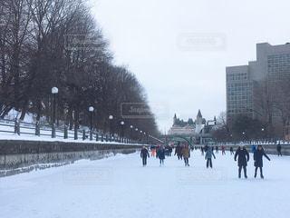 世界遺産にも登録されている世界最長のアイススケートリンクの写真・画像素材[3158577]