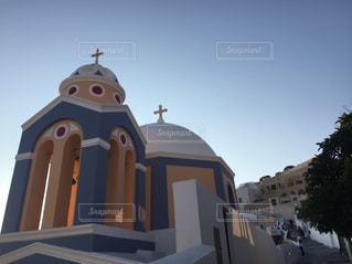 サントリーニ島 オレンジ青白の写真・画像素材[3097967]