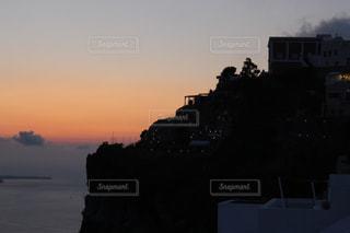 サントリーニ島の夕日の写真・画像素材[3098364]