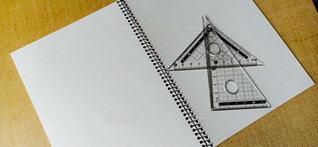 ノートと三角定規の写真・画像素材[3128685]