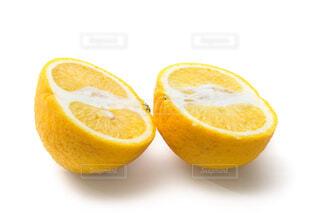 カットしたオレンジ 白バックの写真・画像素材[4438036]