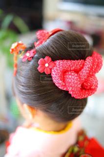 七五三の女の子の日本髪後ろ姿 - No.952933