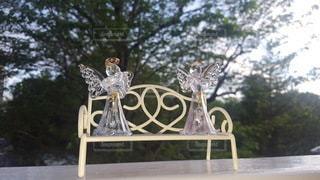 小さなベンチの上の天使達♪の写真・画像素材[3163561]
