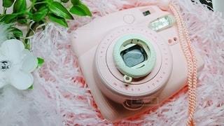 ピンクのインスタントカメラの写真・画像素材[3274496]