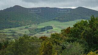 山の斜面に広がる田園風景の写真・画像素材[4035094]
