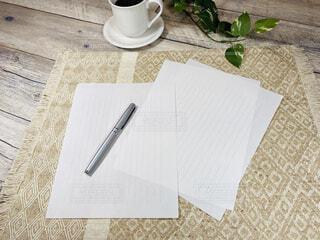 手紙 便箋と万年筆の写真・画像素材[4420546]